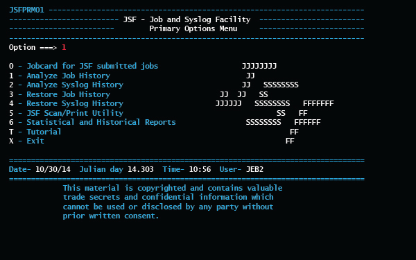 JSF Job and Syslog primary options